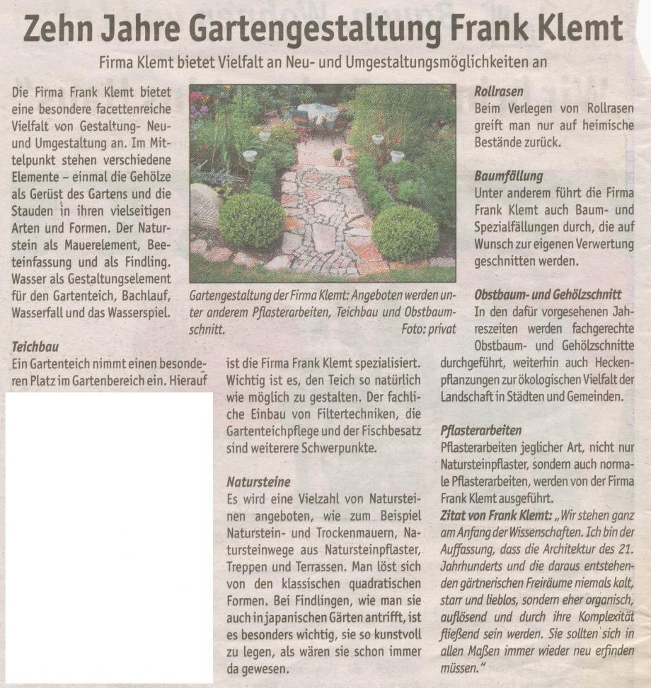 10 Jahre Gartengestaltung Frank Klemt